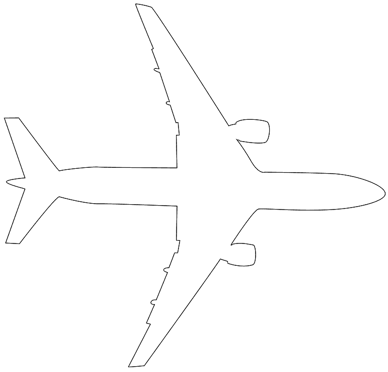 silhouette outline airplane clipart