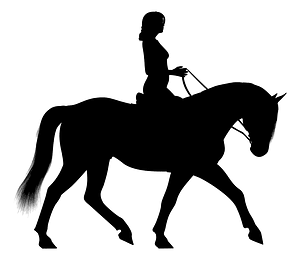 Woman riding horse silhouette