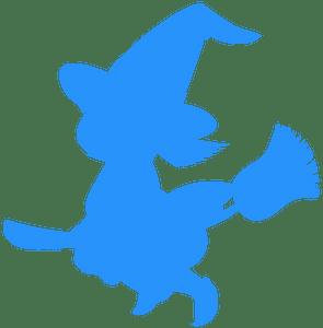 Cartoon Witch - sylwetka wektorowa