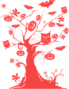 Halloween Tree with bats, owls, and pumpkins silhouette