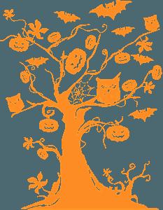 Silueta de Árbol de halloween vector