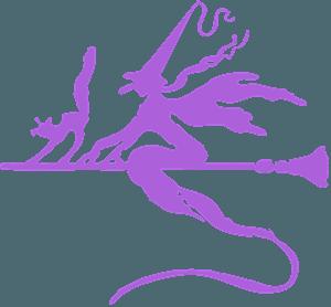 Silueta de Bruja en una escoba vector