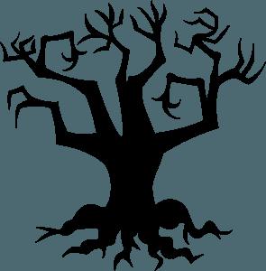 Haunted tree vector silhouet