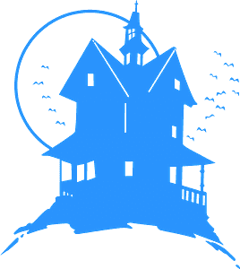 Haunted house stencil silhouette