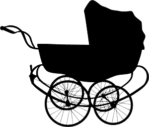 Vintage baby carriage silhuett