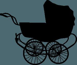 Vintage baby carriage silhueta vetor