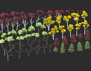 Stylized Trees Pack 3D Model