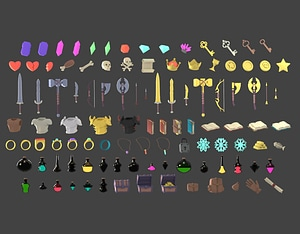 Ultimate RPG Items Pack 3D Model