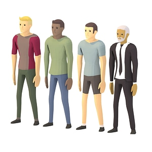Animated Men Characters 3D Model