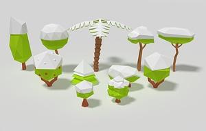 Snowy Trees 3D Model