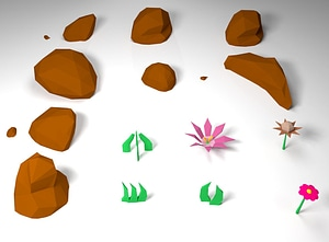 Rocks, Flowers and Grass 3D Model