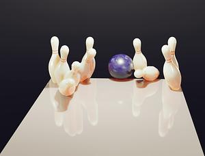 Bowlingkugle og stifter 3D-model