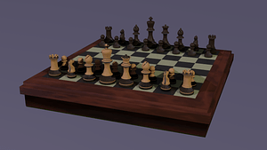 Chess board and pieces 3D Model