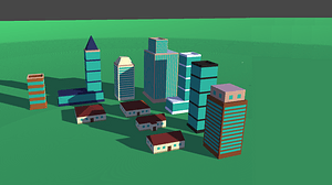 Low Poly City Buildings Pack 3D Model