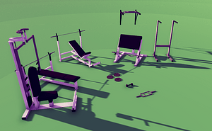 Low Poly Gym Pack 3D Model