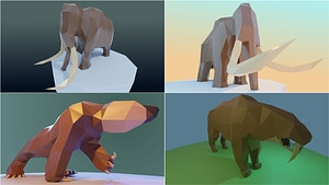 Low Poly Ice Age Animals 3D Model