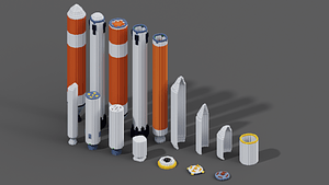 Space rockets collection 3D Model