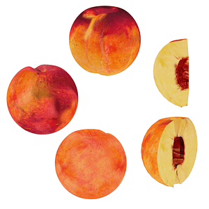 Set of Peaches 3D Model