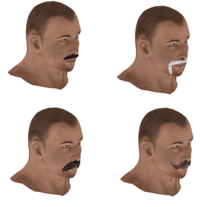 Set of Mustache 3D 3D model