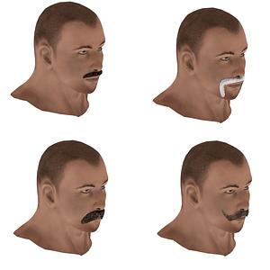 Set of Mustache 3D Model