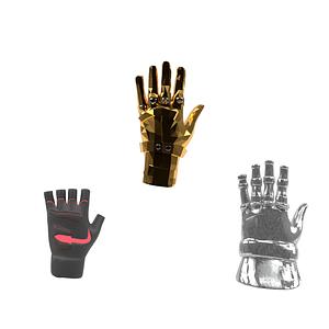 Ensemble de gantelets modèle 3D