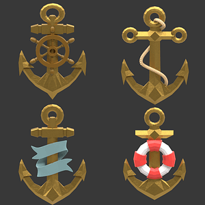 Set Of Anchors 3D Model