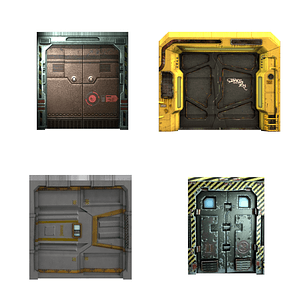 Set of Sci-Fi doors 3D Model