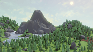 Low poly scenery hills and lake 3D model