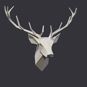 Low poly deer head 3D Model