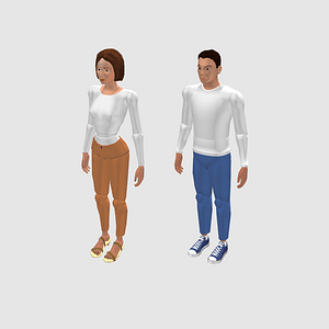Female and Male Mannequin 3D Model