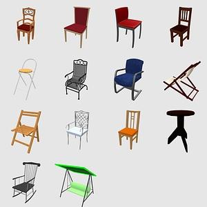 Набор стульев 3D модель