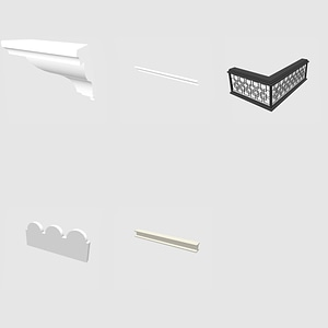 Set of cornises and edges 3D-Modell