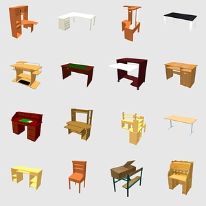 Set of desks 3D Model