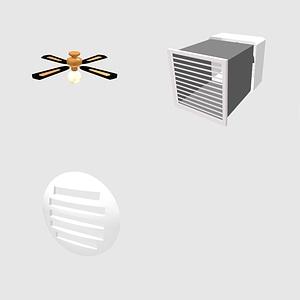 Set of fans 3D Model