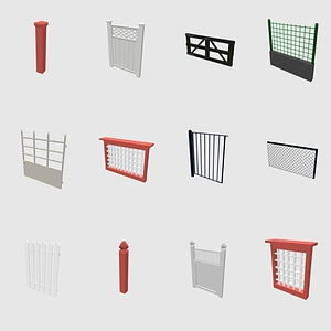 Set of fences 3D Model