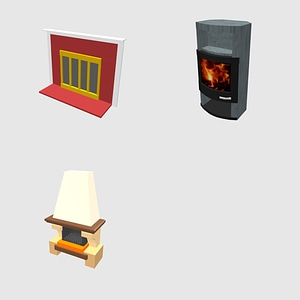 Set of fireplaces 3D Model