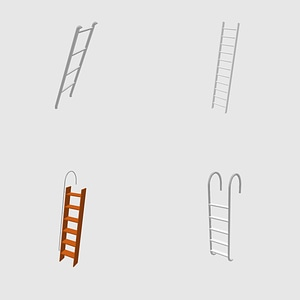 Set of ladders 3D Model