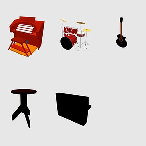 Set of music instruments 3D Model