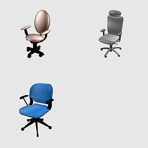 Set of office chairs 3D Model