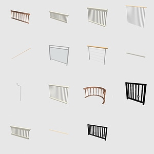 Set of railing 3D Model