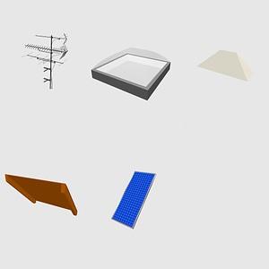 Set of roof elements 3D Model