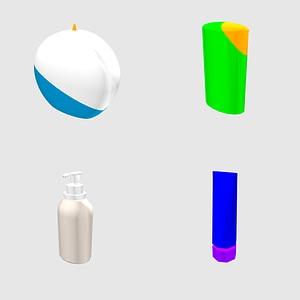 Conjunto de jabones y cremas modelo 3D
