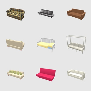 Set of sofas 3D Model