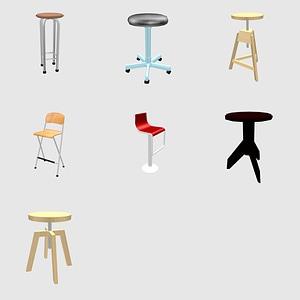 Set of stools 3D Model