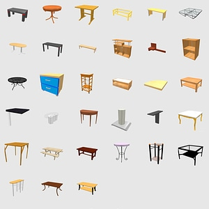 Set of tables 3D Model