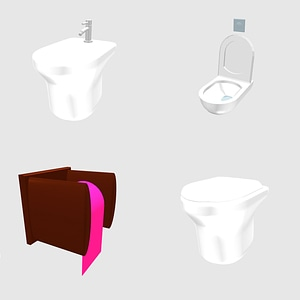 Set of toilets 3D Model