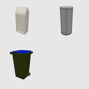 Set of trash can and bins 3D Model