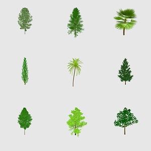 Set of trees 3D Model
