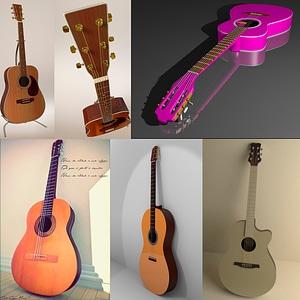 Acoustic Guitars Set 3D Model
