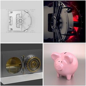 Bank Vaults and Safes Set 3D Model